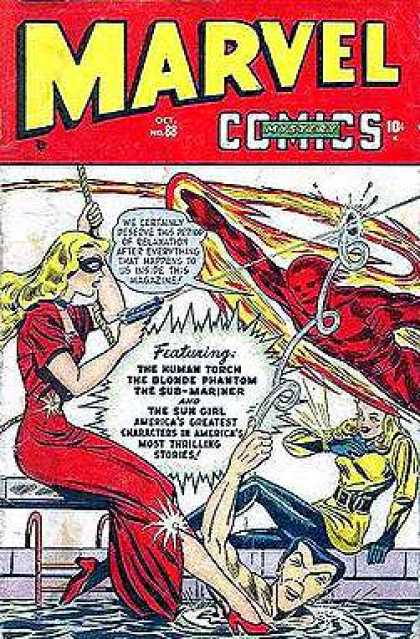 Marvel Mystery Comics 88 - Red Dress - Gun - Swimming Pool - Red High Heels - Rope
