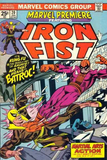 Marvel Premiere 20 - Marvel Comics Group - Iron Fist - Batroc - Martial Arts Action - Approved By The Comics Code Authority