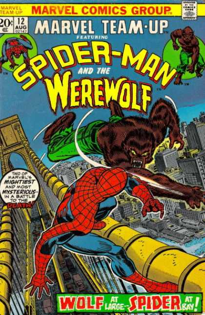 Marvel Team-Up 12 - Spiderman - Werewolf - Fight - Golden Gate Bridge - Bay - Scott Kolins