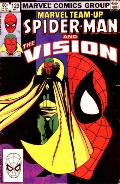 Marvel Team-Up 129 - Spider-man - The Vision - Yellow Cape - Red Face - Green Tights - John Byrne