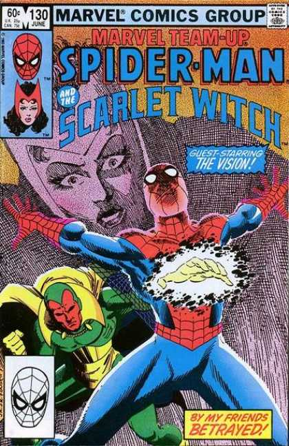 Marvel Team-Up 130 - Spiderman - Web - Scarlet Witch - Red Face - Vision
