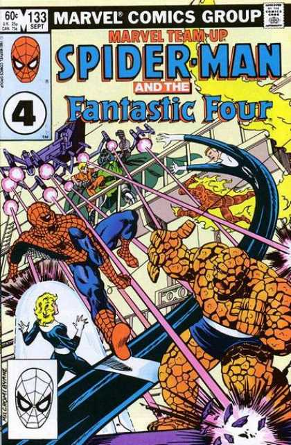 Marvel Team-Up 133 - Spiderman - Fantastic Four - Fight - Laser Fire - Villian - John Byrne