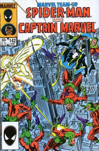 Marvel Team-Up 142 - Spider-man - Captain Marvel - New York City - Empire State Building - Flying - Bob Wiacek