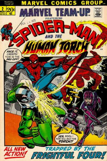 Marvel Team-Up 2 - Spider-man - Human Torch - Feb 14 1972 - Marvel Comics Group - Trapped By The Frightful Four - Scott Kolins