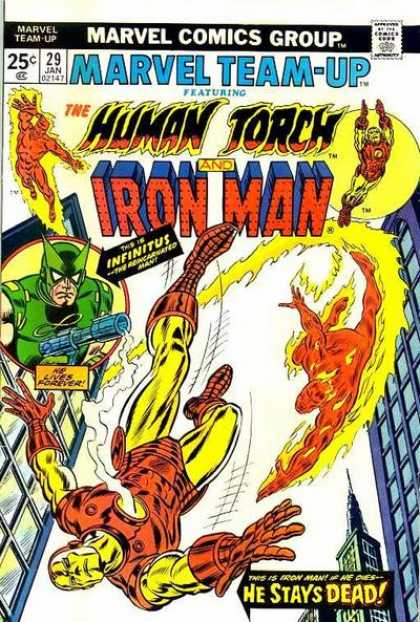 Marvel Team-Up 29 - The Human Torch - Iron Man - He Stays Dead - Fire - City Buildings