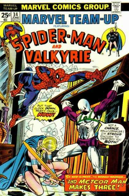 Marvel Team-Up 34 - Spider-man - Valkyrie - Meteor Man Makes Three - Marvel Comics Group - June