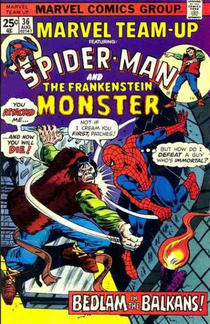 Marvel Team-Up 36 - Frankenstein - Fight - Punch - Attack - Monster