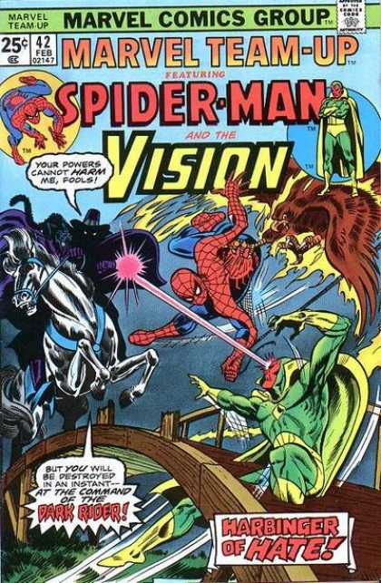 Marvel Team-Up 42 - Marvel Comics Group - Approved By The Comics Code - Spider-man - Vision - Harbinger Of Hate