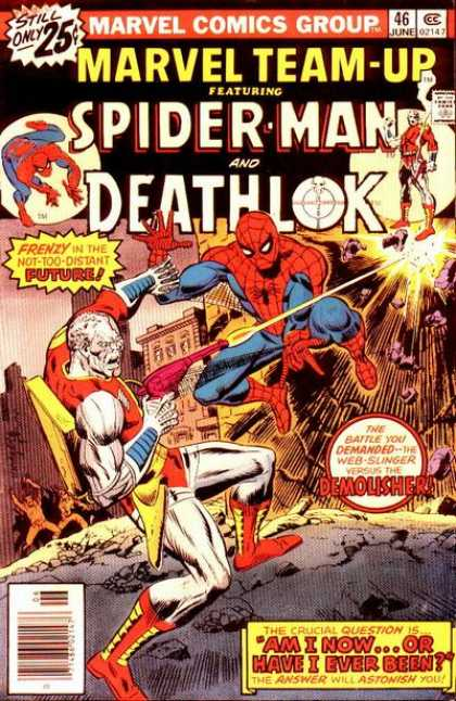 Marvel Team-Up 46 - Spiderman And Deathlok - Laser Gun - Deathlok - Spiderman - Fighting - Richard Buckler