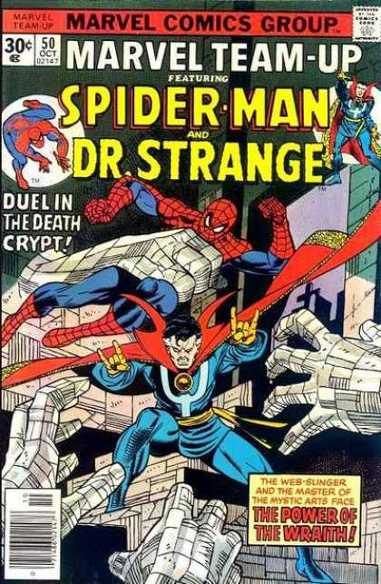 Marvel Team-Up 50 - Duel In The Death Crypt - Spider-man - Drstrange - The Power Of The Wrath - The Web-slinger And The Master Of The Mystic Arts Face