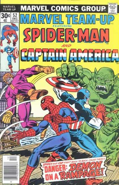 Marvel Team-Up 52 - Demon - Captain America - Spiderman - Fight - Rampage