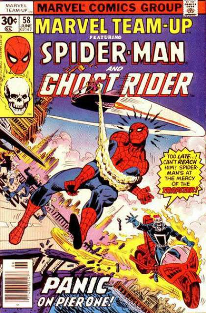 Marvel Team-Up 58 - Trapster - Spider Man - Ghost Rider - Panic - Pier One