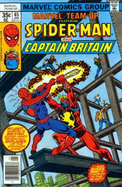 Marvel Team-Up 65 - Spider-man - Captain Britain - Construction Workers - Metal Beams - Fighting - George Perez, Joe Sinnott