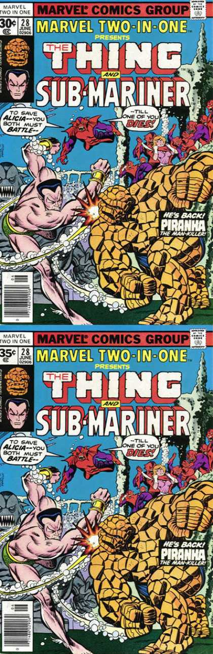 Marvel Two-In-One 28 - The Thing - Sub Mariner - Piranha - Woman - Bubbles