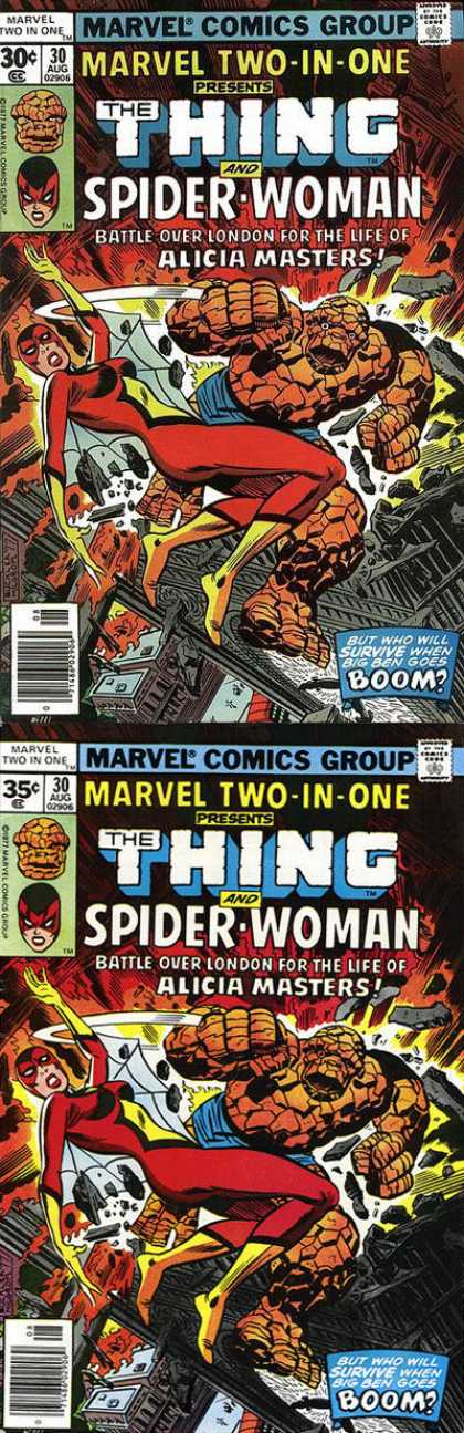 Marvel Two-In-One 30 - Two Superheroes - Spider Woman - Battle Over London - Live Of Alicia Masters - The Thing - Richard Buckler