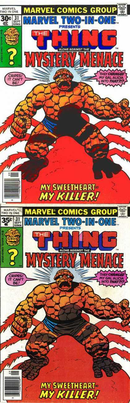 Marvel Two-In-One 31 - The Thing - Spider - Menace - Romance - Betrayl