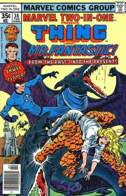 Marvel Two-In-One 36 - Thing - Mr Fantastic - Dinosaur - Skull The Slayer - Woman - Ernie Chan