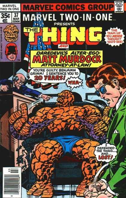 Marvel Two-In-One 37 - Team-up - The Thing - Matt Murdock - Judge - Sentence - Joe Sinnott