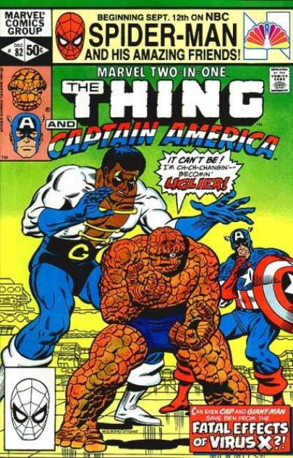 Marvel Two-In-One 82 - Spider Man - The Thing - Captain America - Fatal Effects Of Virus X - Ugly - Charles Stone