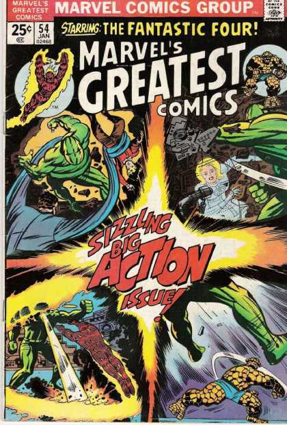 Marvel's Greatest Comics 54 - Fighting - Guns - One Girl - The Fantastic Four - Fire