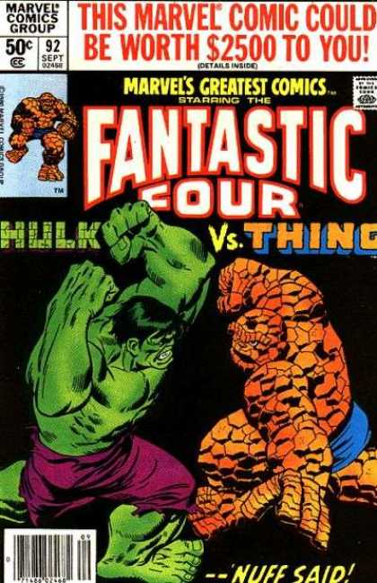 Marvel's Greatest Comics 92 - 50c - 92 Sept 02458 - 2500 - Fantastic Four - Hulk Vs Thing