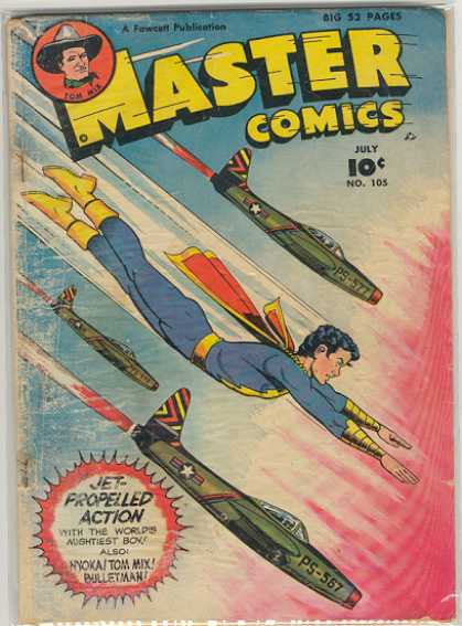 Master Comics 105 - Tom Mix - Bulletman - Airplanes - Action - Boy