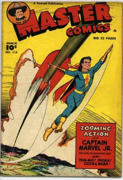 Master Comics 113 - Golden Boots - Gliding Mid-air - Missile - Zooming Action - Captain Marvel Jr