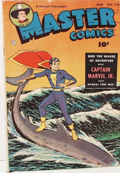 Master Comics 116 - June - Fawcett - Captain Marvel Jr - 10 Cents - Fish Surfing