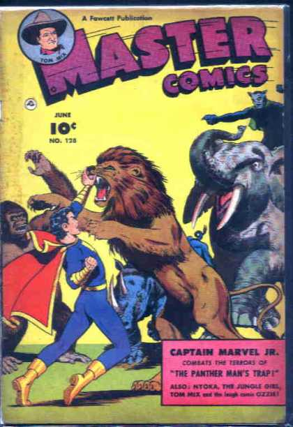 Master Comics 128 - 10 Cents - No 128 - A Fawcatt Publication - Captain Marvel Jr - Th Panthers Mans Trap