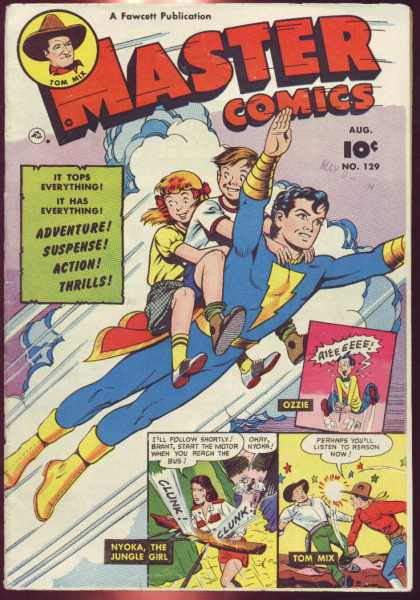 Master Comics 129 - Tom Mix - Captain Marvel Jr - Fawcett Comics - Nyoka - Ozzie