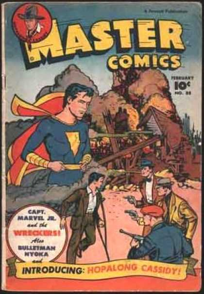 Master Comics 88 - Introducing Hopalong Cassidy - Captain Marvel Jr And The Wreckers - Also Bulletman Nyoka - Destroying A Building - Thinking About His Alter Ego