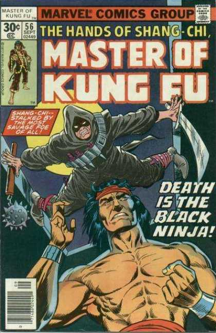 Master of Kung Fu 56 - Marvel Comics Group - Approved By The Comics Code Authority - 56 Sept - The Hands Of Shang-chi - Death Is The Black Ninja