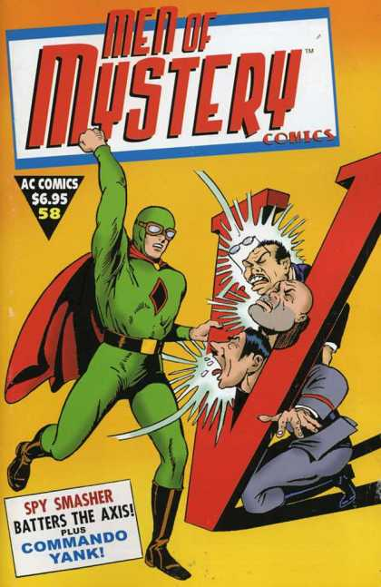 Men of Mystery 58 - Spy Smasher - Red V - Three Men - Red Cape - Punch