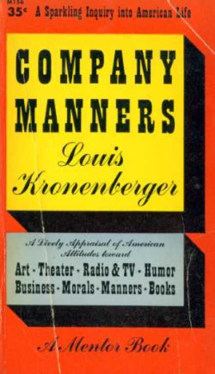 Mentor Books - Company Manners - Louis Kronenberger