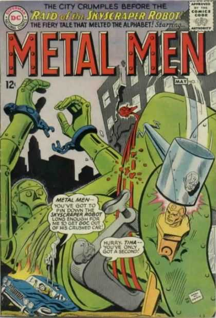 Metal Men 13 - Skyscraper Robot - Dc Comics - Fiery Tale That Melted The Alphabet - City Crumbles - May - Ross Andru