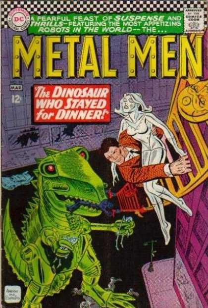 Metal Men 18 - Dinosaur - Statue - Dc - Ladder - Climbing - Ross Andru
