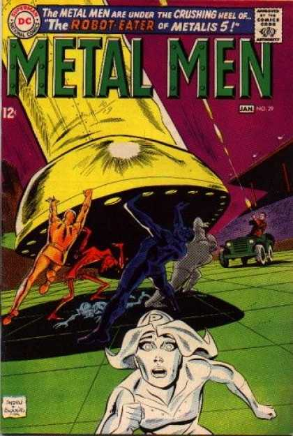 Metal Men 29 - Laser - Running - Aliens - Colorful - Space Ship - Ross Andru