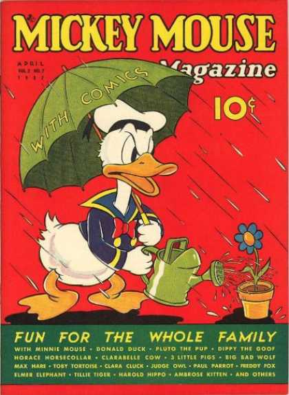 Mickey Mouse Magazine 19 - Green Umbrella - Rain Drops - Watering Can - Flower - Donald Duck