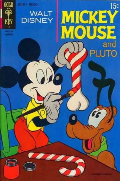 Mickey Mouse 128 - Walt Disney - Gold Key - Pluto - Candy Cane - Red Paint