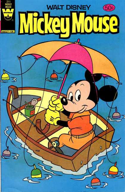 Mickey Mouse 211 - Walt Disney - Umbrella - Boat - Water - Whitman