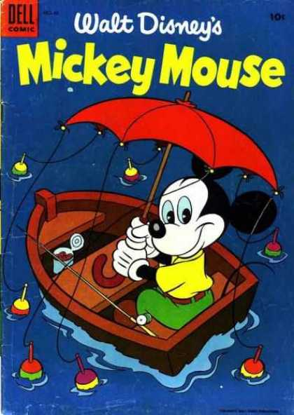 Mickey Mouse 42 - Rainy Day Fishing Trip - Mouse - Little Brown Boat - Trusty Fishing Reel - Mighty Red Umbrella