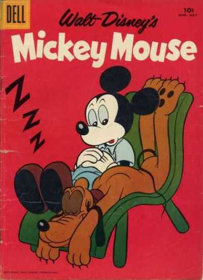 Mickey Mouse 60 - Pluto - Disney Comic - Sleeping Dog - Dell - Mickey Mouse Sitting In A Chair