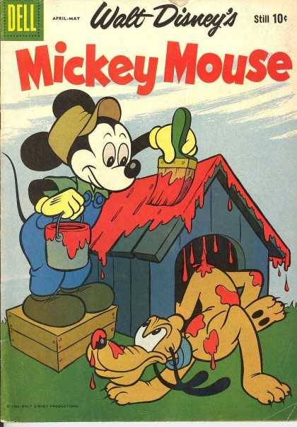 Mickey Mouse 65 - Pluto - Doghouse - Red Paint - Painting - Wet Paint