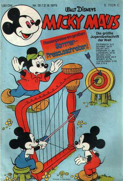 Micky Maus 1024 - German Comic - Classic - Disney - Archery With Harp - Technicolor