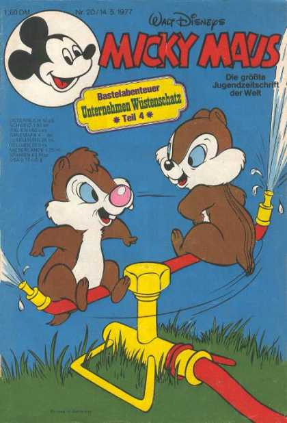 Micky Maus 1117 - Walt Disney - Chip And Dale - Sprinkler - Grass - Water