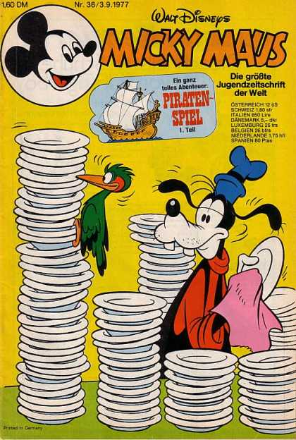 Micky Maus 1133 - Pirate Ship - Pluto - Dishwashing Duty - Stacks Of Bowls - Green Parrot