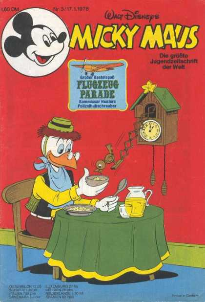 Micky Maus 1153 - Cuckoo Clock - Food - Bowl - Table - Walt Disney