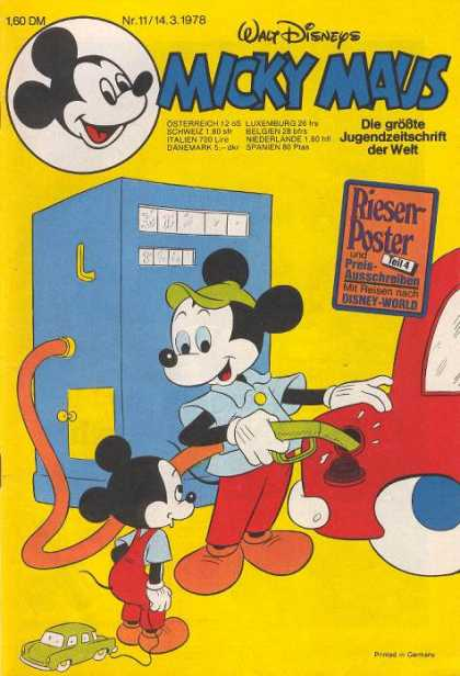 Micky Maus 1161 - Car - Mickey Mouse - German - Poster - Gasoline