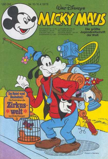 Micky Maus 1165 - Goofy - Camping - Hitchhiking - Walt Disney - Fishing Pole