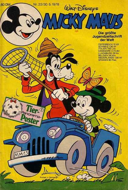 Micky Maus 1172 - Cartoon Dog - Cartoon Mouse - Butterfly Net - Butterfly - Blue Jeep